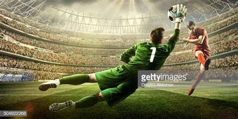 Soccer Game Moment With Goalkeeper High Res Stock Photo ...