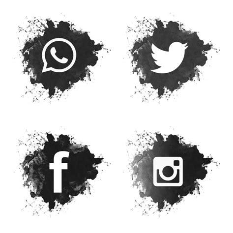 Social media black grunge icons set Vector   Free Download
