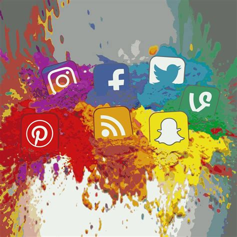 Social Media Icons Color Splash Montage   Square | All ...