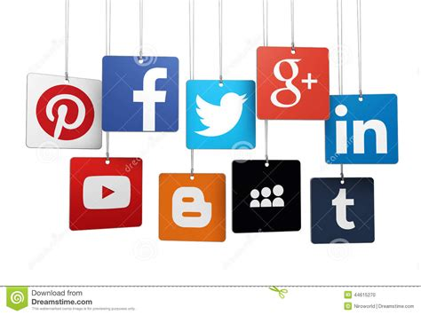 Social Media Logotype On Tags Editorial Image   Image of ...