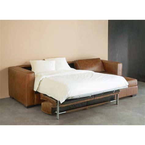 Sofá cama esquinero a derechas de 4 plazas de piel marrón ...