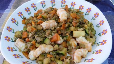 Soja verde con verduras y langostinos. | ¿Qué comemos mañana?