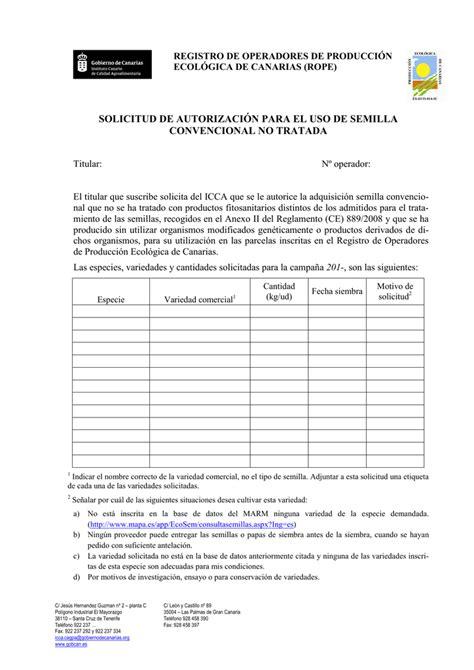 Solicitud autorización uso SEMILLAS CONVENCIONALES NO
