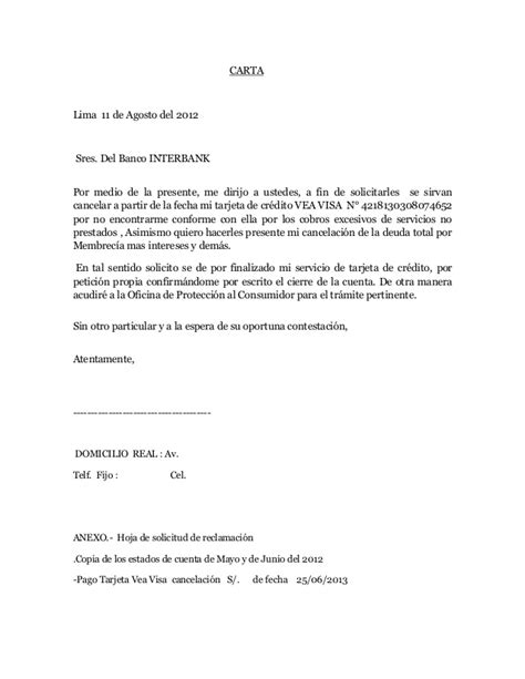 Solicitud de cancelacion de credito bancario Credito ...