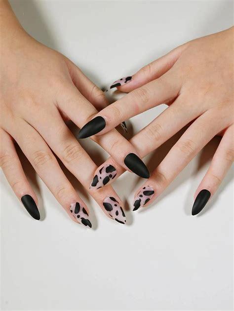 Solid & Cow Print Press On Nails & Nail File Set   SHEIN ...
