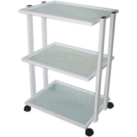 Solid Metal Trolley with 3 Matte Glass Shelves for Sale at ...