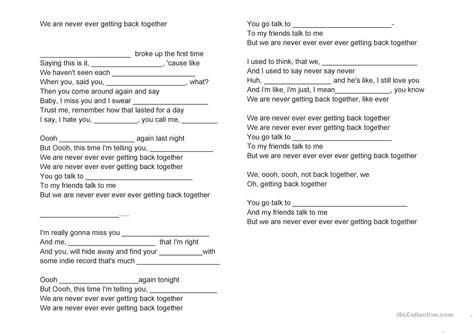song lyrics   English ESL Worksheets for distance learning ...
