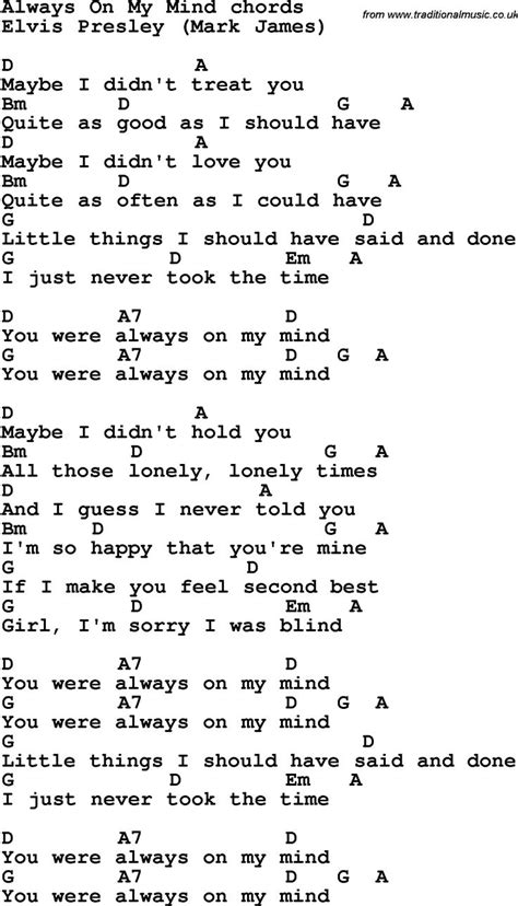 Song Lyrics with guitar chords for Always On My Mind ...