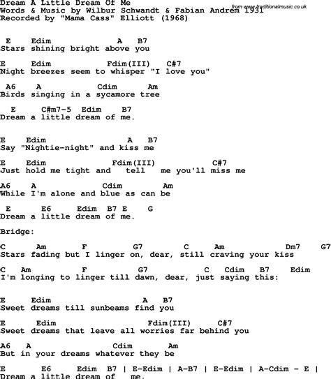 Song lyrics with guitar chords for Dream A Little Dream Of ...