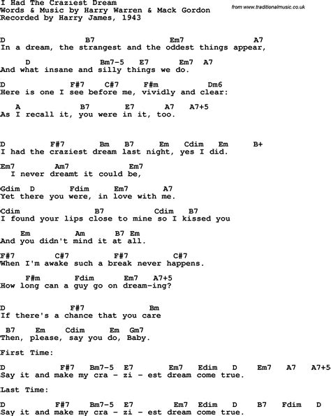 Song lyrics with guitar chords for I Had The Craziest ...