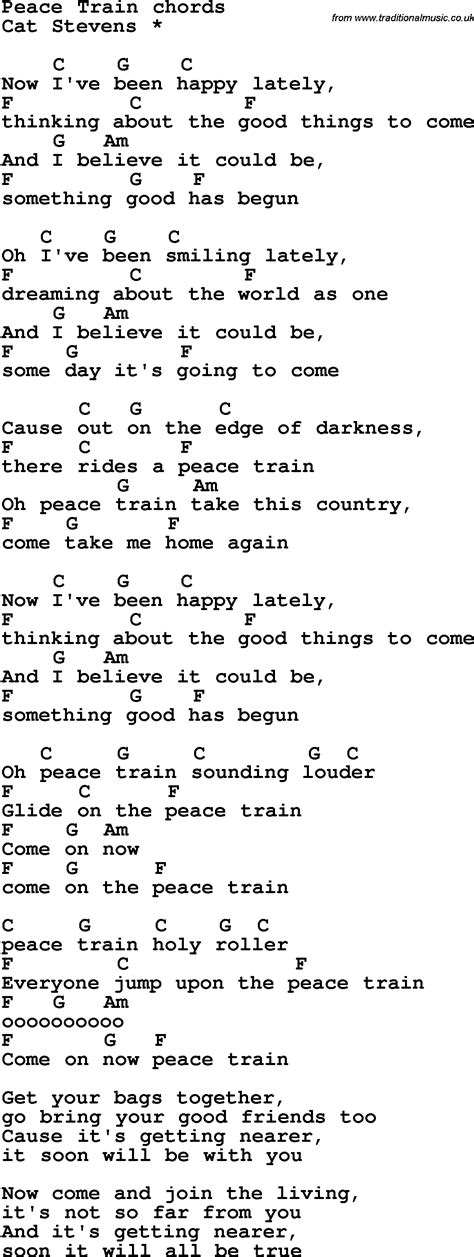 Song lyrics with guitar chords for Peace Train
