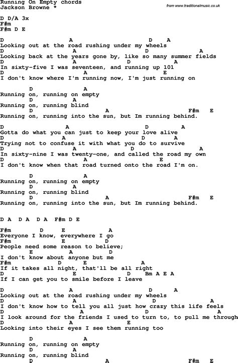 Song lyrics with guitar chords for Running On Empty