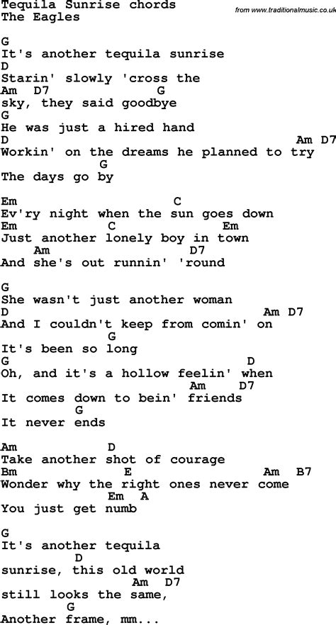 Song lyrics with guitar chords for Tequila Sunrise   The ...