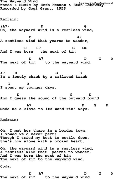 Song Lyrics with guitar chords for Wayward Wind, The ...