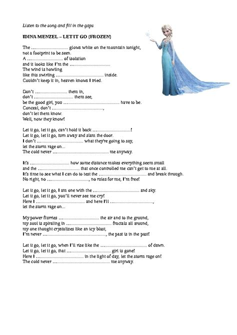 Song Worksheet: Let It Go by Idina Menzel   Frozen  Movie ...