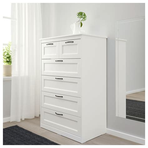 SONGESAND chest of 6 drawers white 82x126 cm | IKEA Bedroom