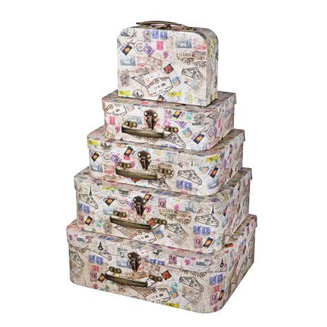 Soul & Lane Decorative Cardboard Suitcase Boxes  Set of 5 ...