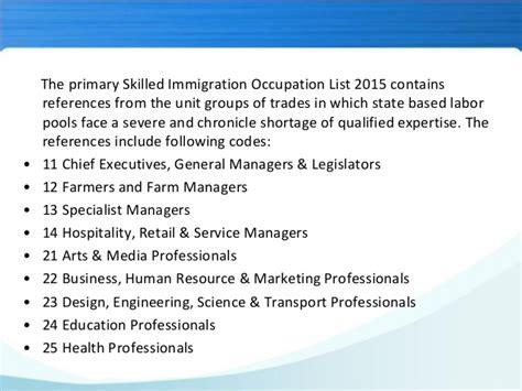 South Australia Skilled Immigration occupation list 2015