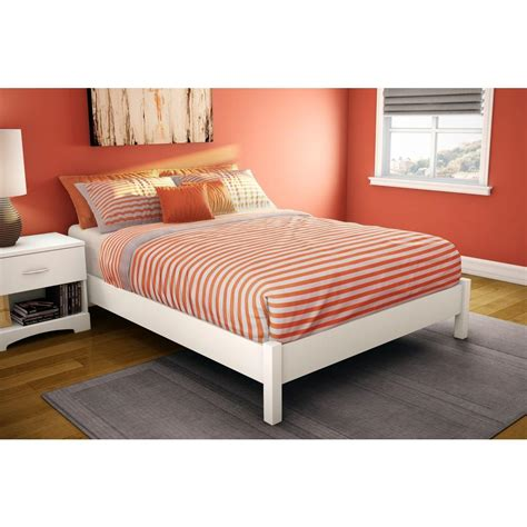 South Shore Step One Full Size Platform Bed in Pure White ...