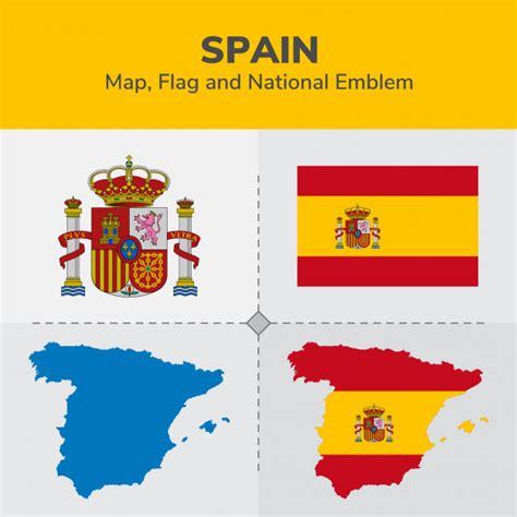 Spain Map, Flag and National Emblem Vector | Premium Download