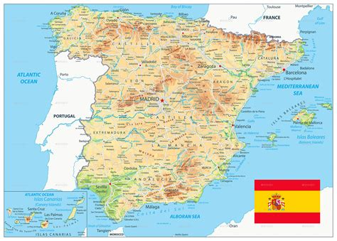 Spain Physical Map by Cartarium | GraphicRiver