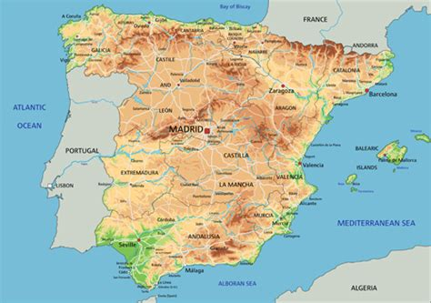 Spain physical map vector graphics | Free Graphic, Design ...