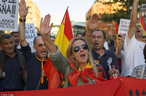 Spain supporters  fascist salutes before independence demo ...