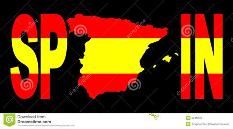Spain Text With Map On Flag Royalty Free Stock Photo ...
