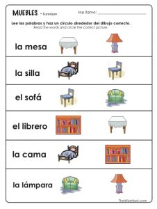Spanish   Los Muebles / Furniture   The Wise Nest