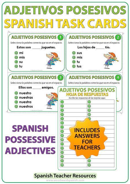 Spanish Possessive Adjectives Task Cards – Adjetivos ...