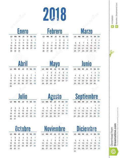 Spanish Vertical Calendar On 2018 Year Stock Vector ...
