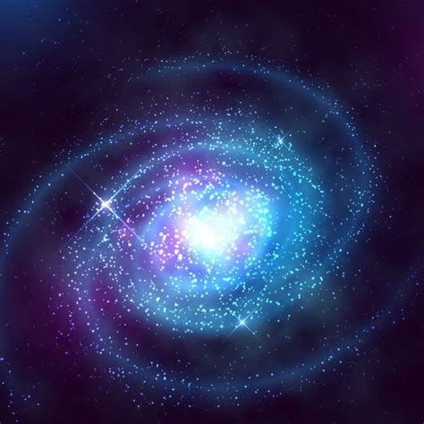 Spiral galaxy in outer space with starry blue sky vector ...