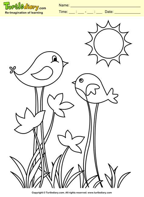 Spring Bird Coloring Sheet | Turtle Diary