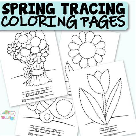 Spring Tracing Coloring Pages   Itsy Bitsy Fun
