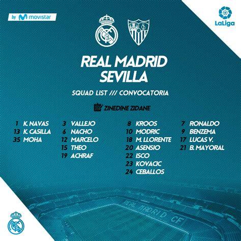 Squad list for Real Madrid   Sevilla : realmadrid
