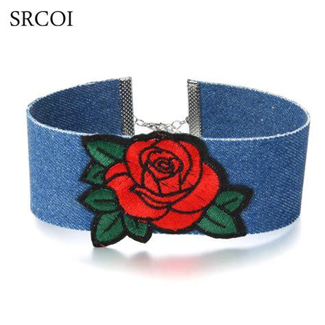 SRCOI Ladies Rose Flower Embroidery Blue Jean Choker Lips ...