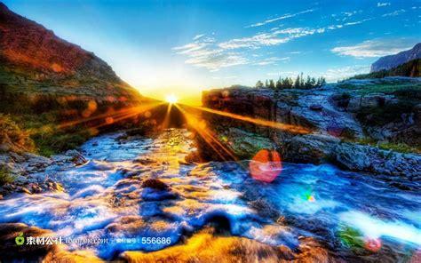唯美山水和太阳素材图片_素材公社_tooopen.com