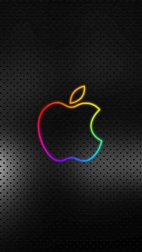 七色のアップルロゴ(黒背景)   スマホ壁紙/iPhone待受画像ギャラリー