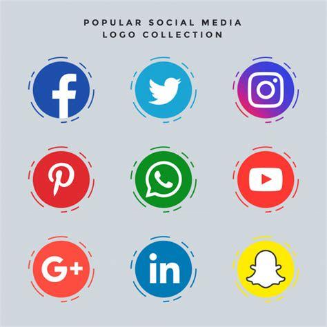 人気のあるソーシャルメディアのアイコンが設定 ベクター画像   無料ダウンロード
