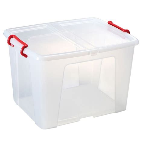 Staples Plastic Storage Box With Lid Stackable Clear 42 L ...
