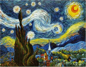 Starry Night   50x60cm Hand Painted Van Gogh Impressionist ...