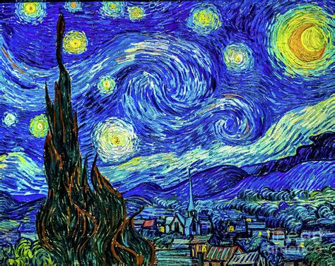 Starry Night Print by Vincent Van Gogh Painting by Vincent ...