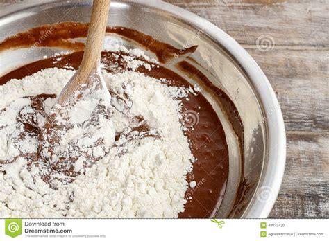 Steps Of Making Chocolate Cake : Mixing Ingredients Stock ...