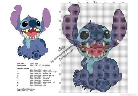 Stitch smiling from Lilo & Stitch free cross stitch ...