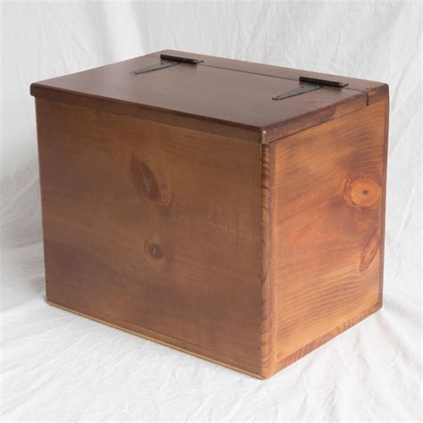 Storage Box   Wooden   Small   Flat Top   Hinged Lid on ...