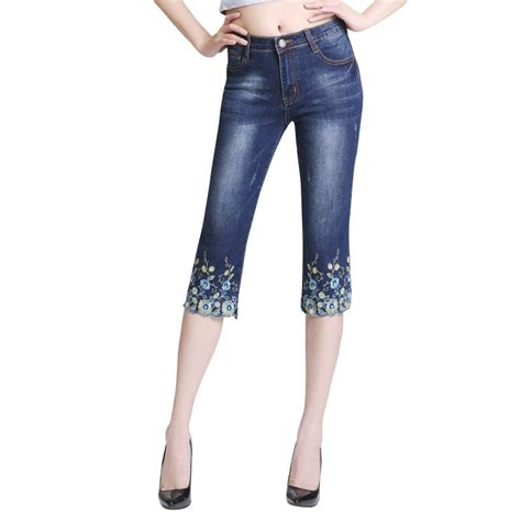 Stretch Embroidered Jeans For Women Elastic Flower Jeans ...