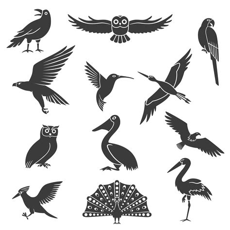 Stylized Birds Silhouettes Black Icons Set   Download Free ...