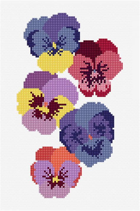 Summer Pansies   pattern   Free Cross Stitch Patterns   DMC