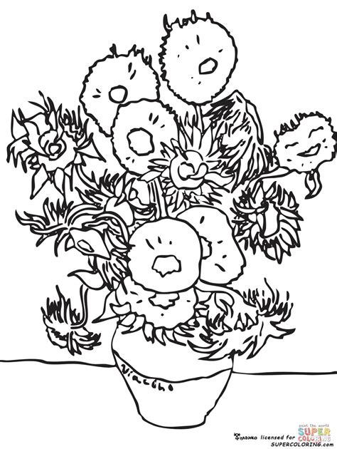 Sunflowers By Vincent Van Gogh coloring page | Free ...