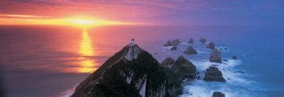 Sunset, Nugget Point Lighthouse, South Island, New Zealand ...
